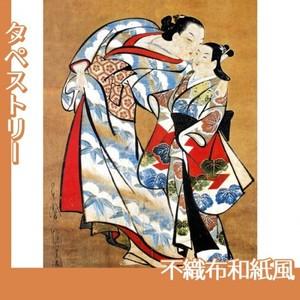 懐月堂安度「遊女と禿図」【タペストリー:不織布和紙風】