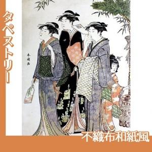 勝川春潮「羽子板を持つ美人図」【タペストリー:不織布和紙風】