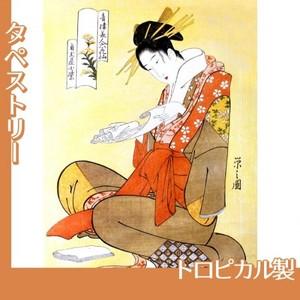 鳥文斎栄之「青楼美人六花仙 角玉屋小紫」【タペストリー:トロピカル】