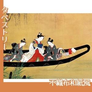 西村重長「舟中の遊女と禿図」【タペストリー:不織布和紙風】
