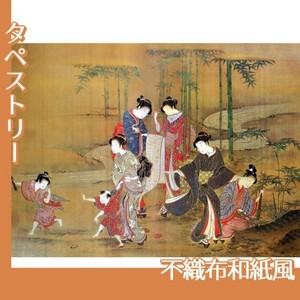 無款「見立竹林七賢図」【タペストリー:不織布和紙風】
