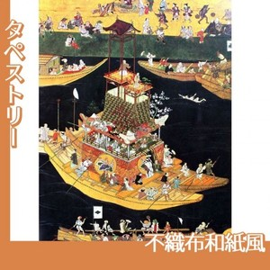無款「津島神社祭礼図屏風 朝祭(部分2)」【タペストリー:不織布和紙風】