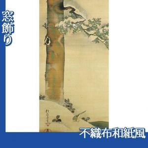酒井抱一「雪中檜に小禽図」【窓飾り:不織布和紙風】