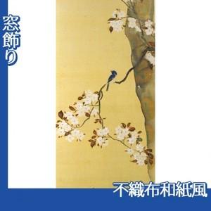 酒井抱一「桜に小禽図・柿に小禽図(右隻)」【窓飾り:不織布和紙風】