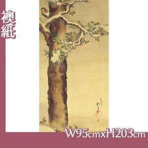 酒井抱一「十二ヶ月花鳥図(十二月檜に啄木鳥図)」【襖紙】