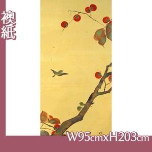 酒井抱一「桜に小禽図・柿に小禽図(左隻)」【襖紙】