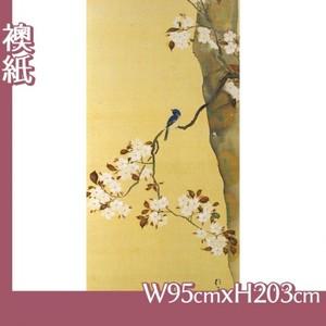 酒井抱一「桜に小禽図・柿に小禽図(右隻)」【襖紙】