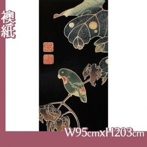 伊藤若冲「花鳥版画(六枚) 四.青桐に砂糖鳥図」【襖紙】