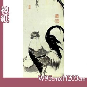 伊藤若冲「柳下双鶏図(双幅)」【襖紙】