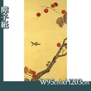 酒井抱一「桜に小禽図・柿に小禽図(左隻)」【障子紙】