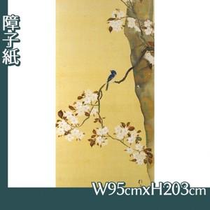 酒井抱一「桜に小禽図・柿に小禽図(右隻)」【障子紙】