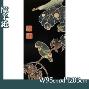 伊藤若冲「花鳥版画(六枚) 四.青桐に砂糖鳥図」【障子紙】