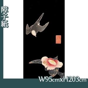 伊藤若冲「花鳥版画(六枚) 五.椿に白頭図」【障子紙】
