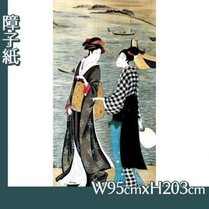 歌川豊広「河辺の納涼美人」【障子紙】