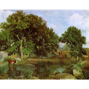 コロー「フォンテーヌブローの森の光景」【ハンカチ・コースター・複製画】
