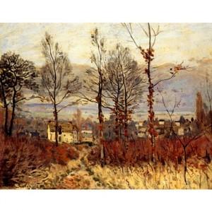 シスレー「森のはずれの村、秋景色」【ハンカチ・コースター・複製画】