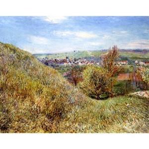 シスレー「春のモレの丘にて、朝」【ハンカチ・コースター・複製画】
