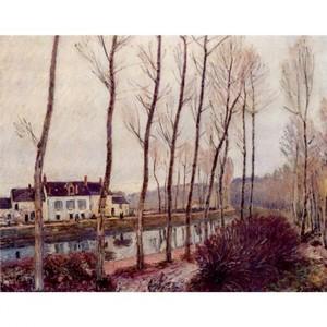 シスレー「ロワン川の運河、冬」【ハンカチ・コースター・複製画】