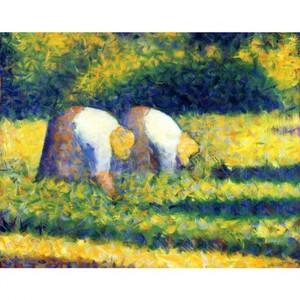 スーラ「農作業をする女たち」【ハンカチ・コースター・複製画】