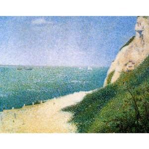 スーラ「バ・ビュタンの砂浜、オンフルール」【ハンカチ・コースター・複製画】