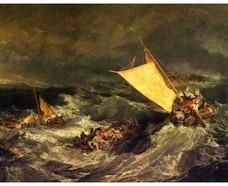 ターナー「難破船:乗組員の救助に努める漁船」【ハンカチ・コースター・複製画】