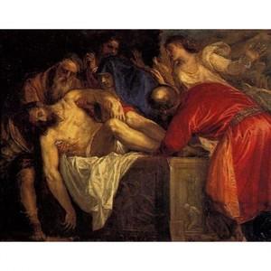 ティツアーノ「キリストの埋葬」【ハンカチ・コースター・複製画】
