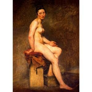 ドラクロア「坐る裸婦・ローズ嬢」【ハンカチ・コースター・複製画】