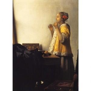 フェルメール「真珠のネックレスを持つ女」【ハンカチ・コースター・複製画】