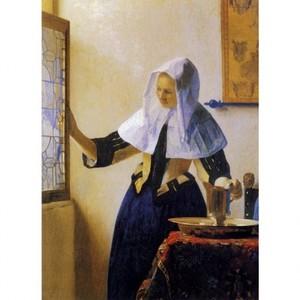 フェルメール「窓辺で水差しを持つ女」【ハンカチ・コースター・複製画】