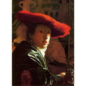 フェルメール「赤い帽子の女」【ハンカチ・コースター・複製画】