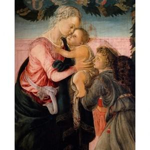 ボッティチェリ「聖母子と天使」【ハンカチ・コースター・複製画】