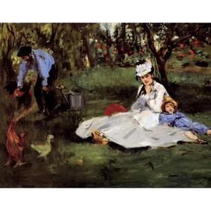 マネ「アルジャントゥイユの庭のモネ一家」【ハンカチ・コースター・複製画】