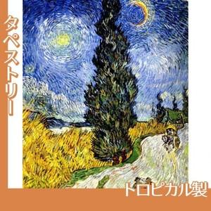 ゴッホ「糸杉と星の見える道」【タペストリー:トロピカル】