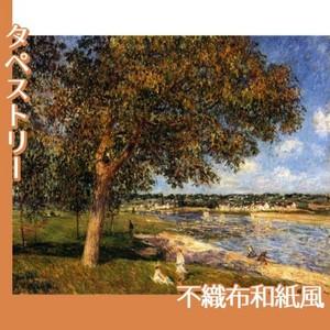シスレー「トメリの草原のくるみの木」【タペストリー:不織布和紙風】