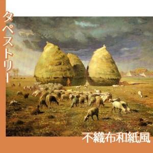 ミレー「秋:積み藁」【タペストリー:不織布和紙風】