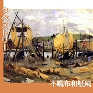 モリゾ「建造中の船」【タペストリー:不織布和紙風】