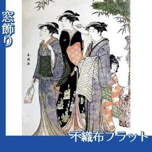 勝川春潮「羽子板を持つ美人図」【窓飾り:不織布フラット100g】