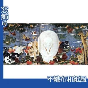 伊藤若冲「樹花鳥獣図屏風(六曲一双)右隻」【窓飾り:不織布和紙風】