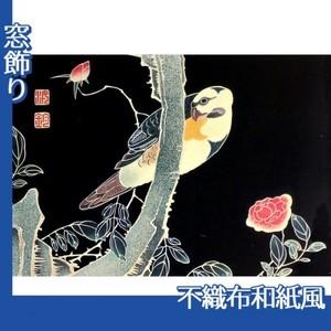 伊藤若冲「花鳥版画(六枚) 三.薔薇に鸚哥図」【窓飾り:不織布和紙風】