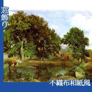 コロー「フォンテーヌブローの森の光景」【窓飾り:不織布和紙風】