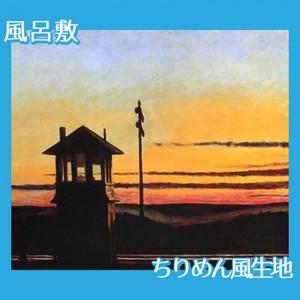 エドワード・ホッパー「線路沿いの日没 1929」【風呂敷】