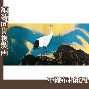 平福百穂「丹鶴青瀾(左)」【複製画:不織布和紙風】