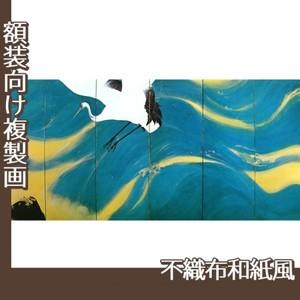平福百穂「丹鶴青瀾(右)」【複製画:不織布和紙風】