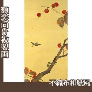 酒井抱一「桜に小禽図・柿に小禽図(左隻)」【複製画:不織布和紙風】