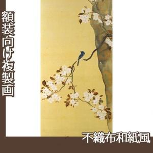 酒井抱一「桜に小禽図・柿に小禽図(右隻)」【複製画:不織布和紙風】