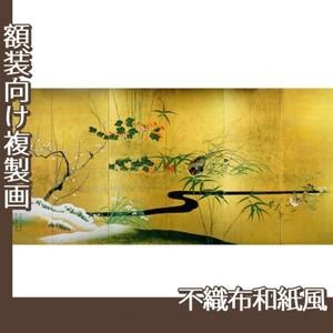 酒井抱一「四季花鳥図屏風」【複製画:不織布和紙風】
