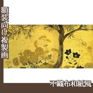酒井抱一「槙に秋草図屏風(左隻)」【複製画:不織布和紙風】