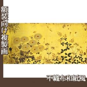 酒井抱一「槙に秋草図屏風(右隻)」【複製画:不織布和紙風】