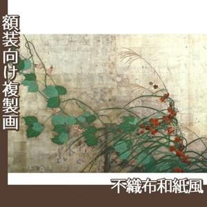 酒井抱一「夏秋草図屏風(左隻)」【複製画:不織布和紙風】