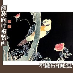 伊藤若冲「花鳥版画(六枚) 三.薔薇に鸚哥図」【複製画:不織布和紙風】